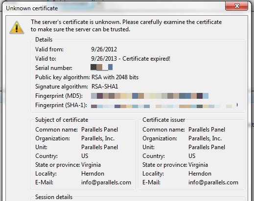 FTP via FileZilla Prompts for Unknown Security Certificate