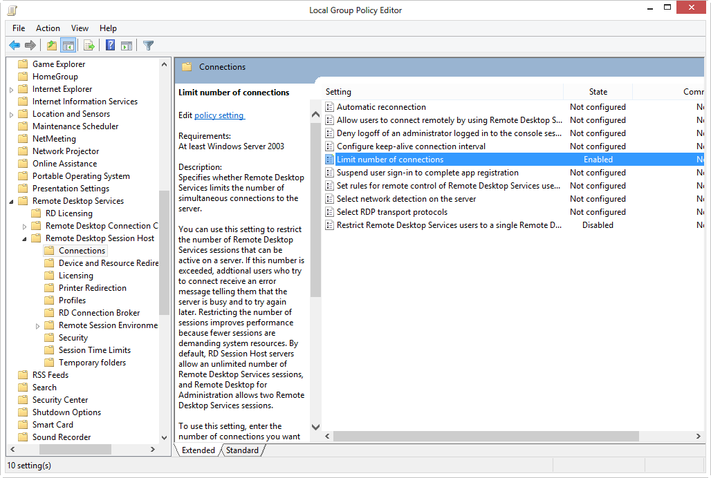 How to Enable / Disable Multiple RDP Sessions in Windows 2012