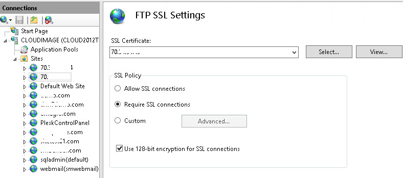 FTP Error: Could Not Connect to Server - 534 Policy Requires SSL