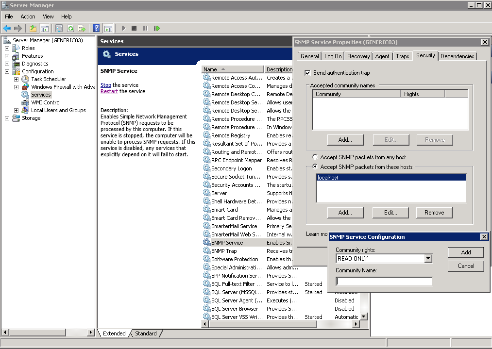 How to Install SNMP and Configure the Community String For
