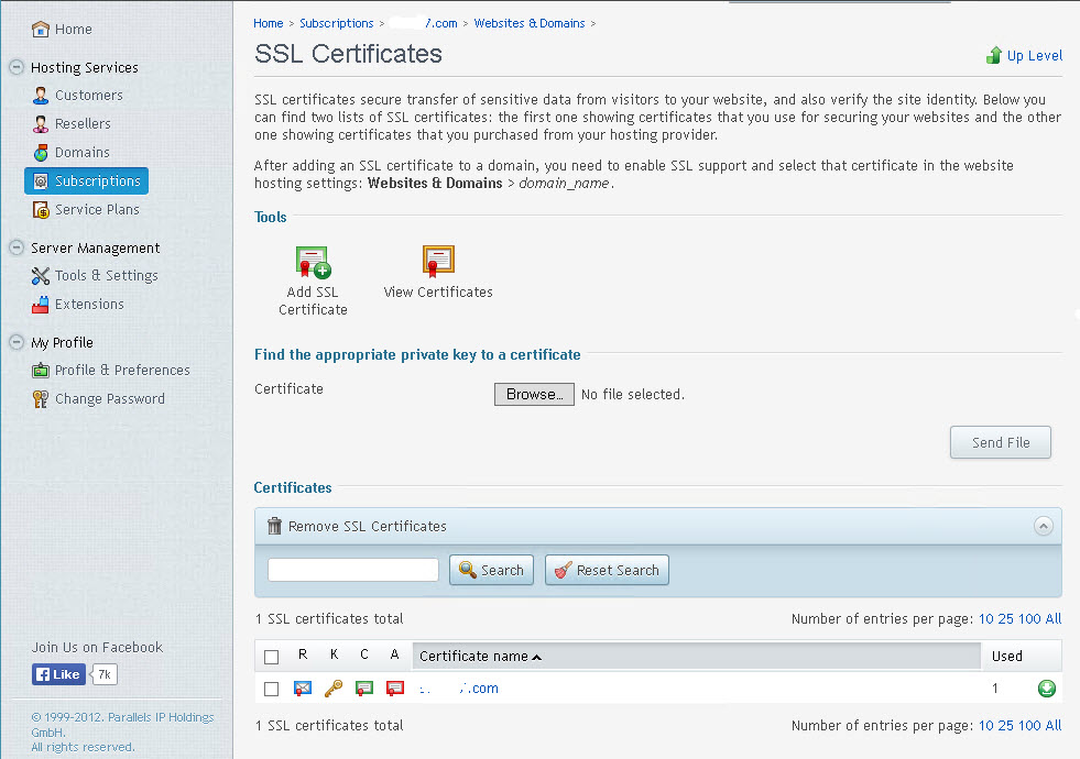Replace a SHA-1 with a SHA-2 Certificate in Plesk - 1. Frontline