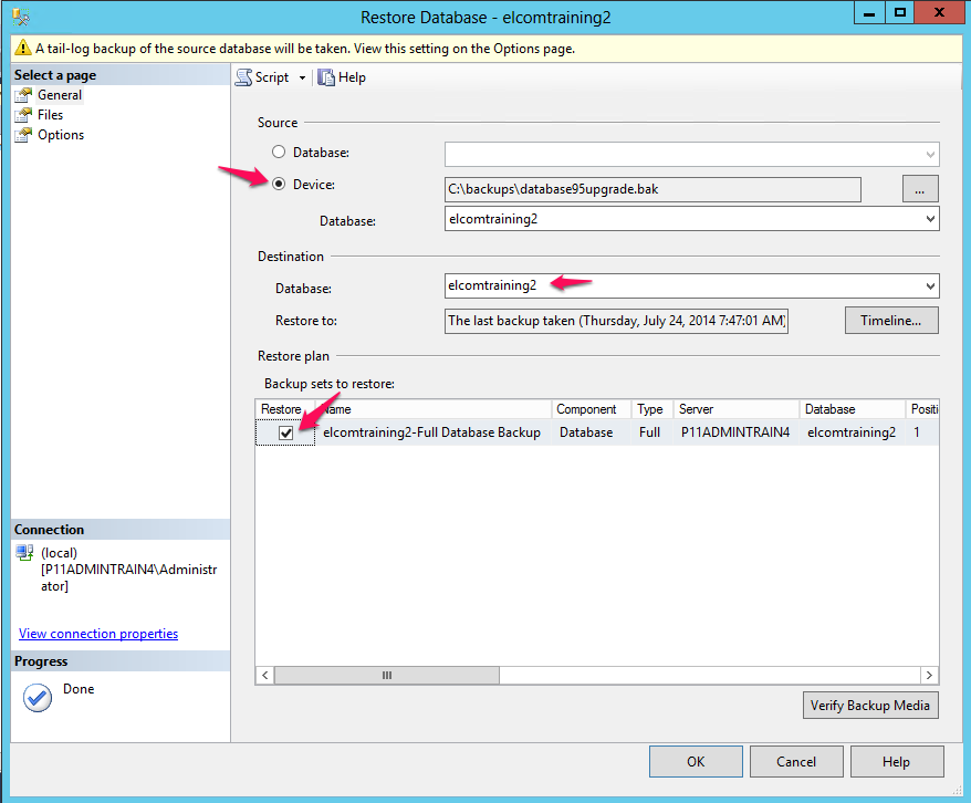 How To Manually Restore An Mssql Database In Management Studio