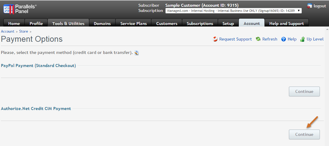 Authorize.net Credit CIM Payment