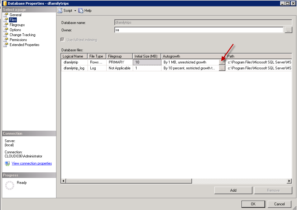 Change Autogrowth MS SQL Settings
