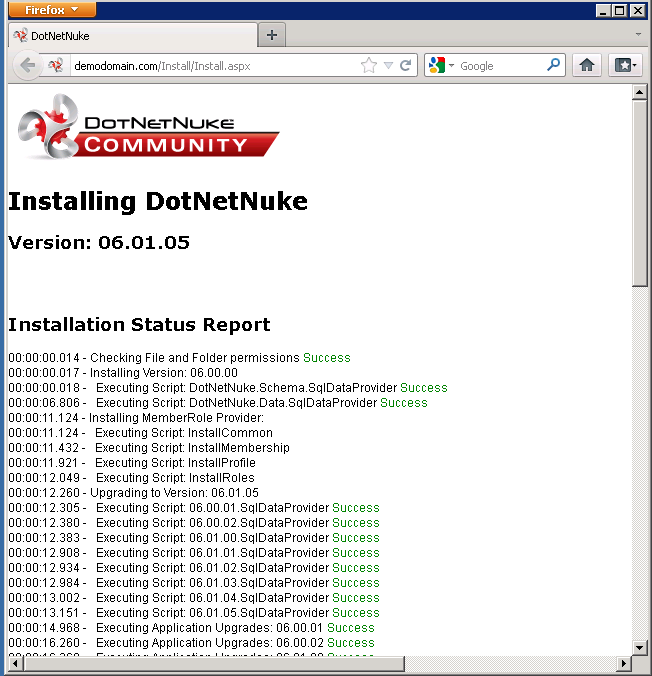 successful dnn installation