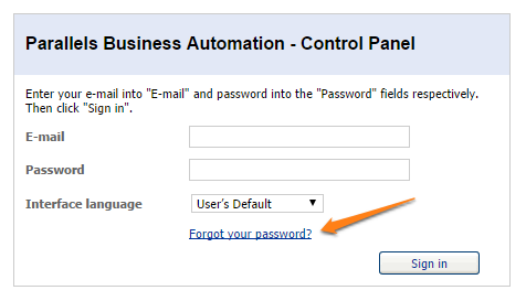 Forgot Control Panel Password