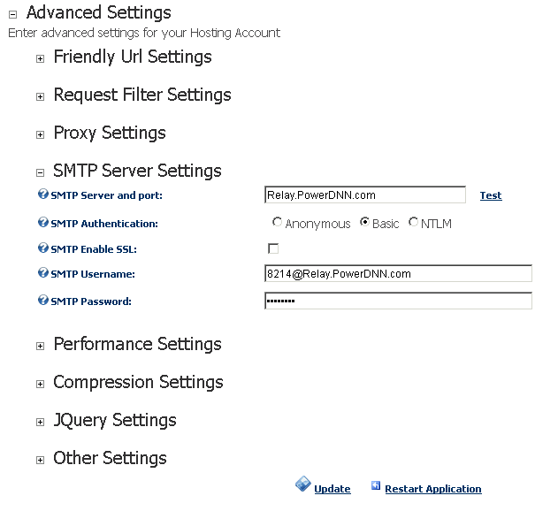 DNN 5 SMTP settings