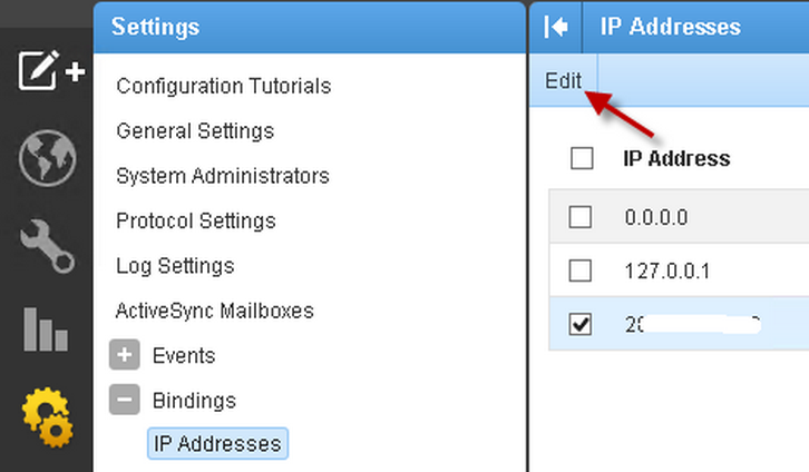 SmarterMail Bindings IP Addresses