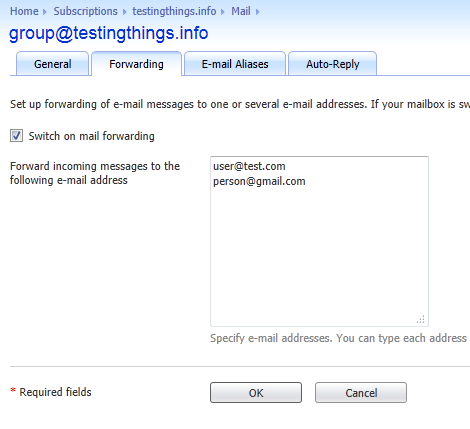 Setting up a mail group in Plesk 10