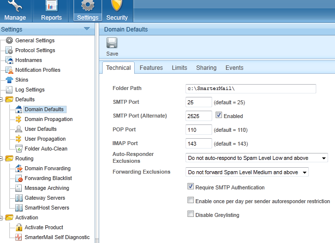 enabling ports in smartermail 7