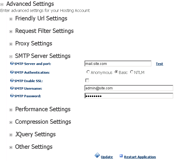tandard SMTP settings for DNN5
