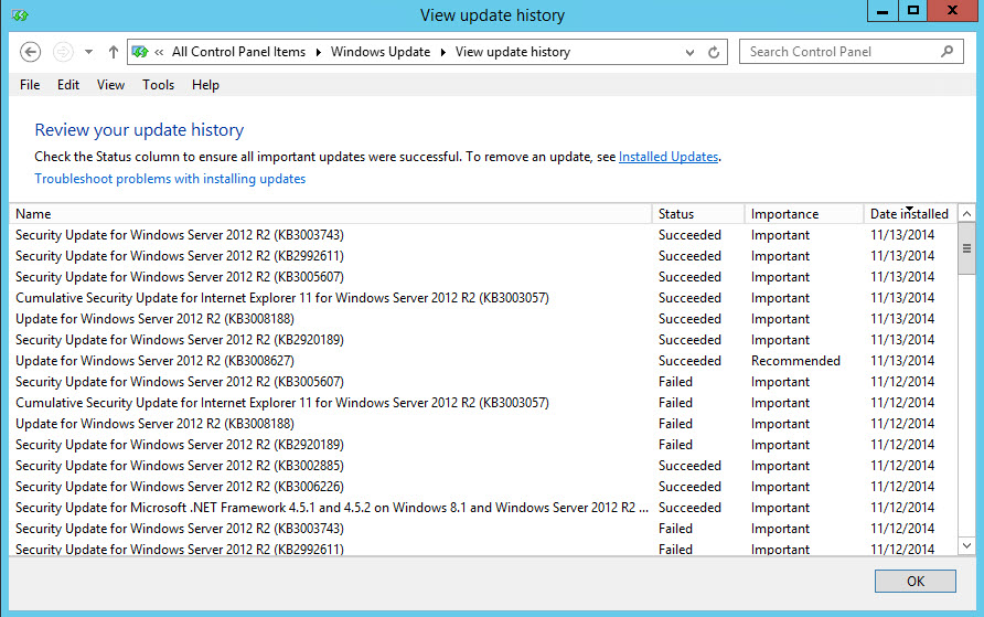 Windows Update History