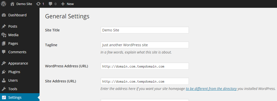 WordPress General Settings TempDomain Alias