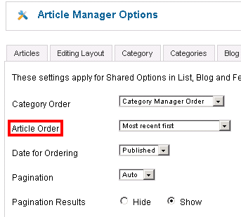 Article Manager Options