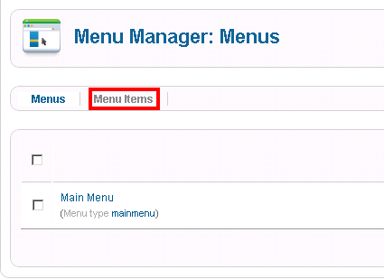 Menu Manager > Menu Items