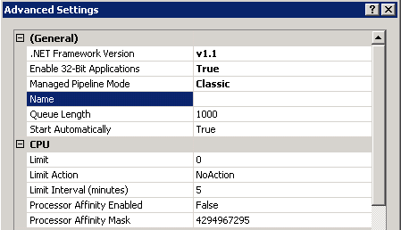 IIS 7 Application Pool settings