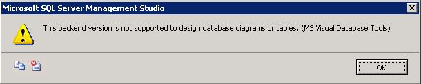 Error message received when clicking design in MSSQL 2008/2008R2