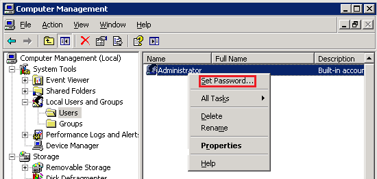 Windows 2003 Administrator Password Change